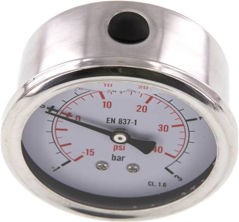 Glycerin-Manometer waagerecht (CrNi/Ms),63mm, -1 bis 3bar (MW -1363 GLY CRE)