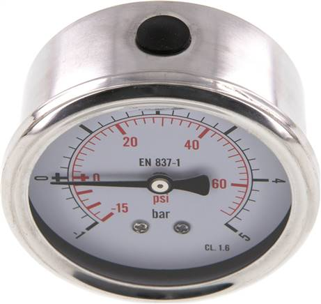 Glycerin-Manometer waagerecht (CrNi/Ms),63mm, -1 bis 5bar (MW -1563 GLY CRE)