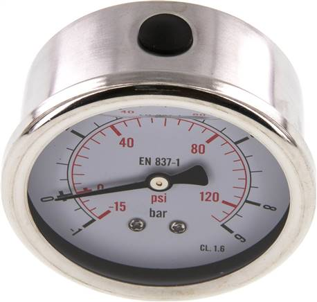 Glycerin-Manometer waagerecht (CrNi/Ms),63mm, -1 bis 9bar (MW -1963 GLY CRE)