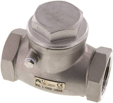 "Stainless steel swing check valve G 1-1/2"",PN 16 (RUCK 112 S ES E)"