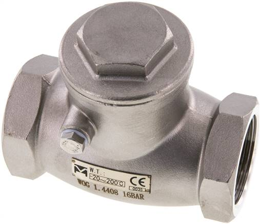 "Stainless steel swing check valve G 1-1/4"",PN 16 (RUCK 114 S ES E)"