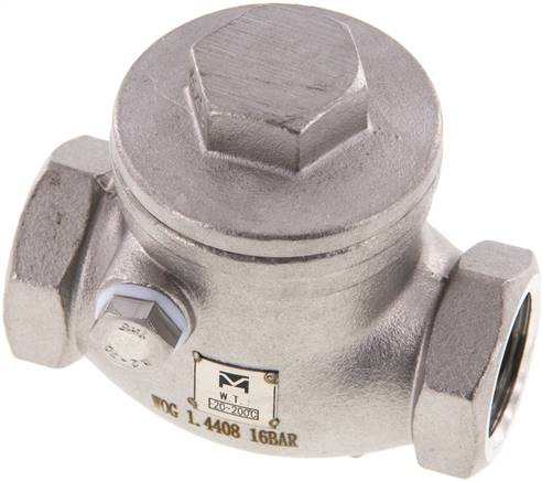 "Stainless steel swing check valve G 1/2"",PN 16 (RUCK 12 S ES E)"
