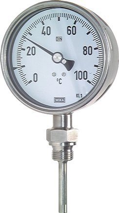 Vertical bimetallic thermometer without thermowell - chemical version, class 1.0