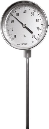 Vertical bimetallic thermometer without thermowell, 18 mm collar, class 1.0