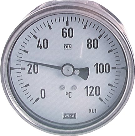Horizontal bimetallic thermometer without thermowell - chemical version,  Class 1.0