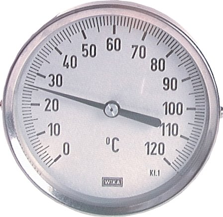 Horizontal bimetallic thermometer without thermowell - industrial version, class 1.0