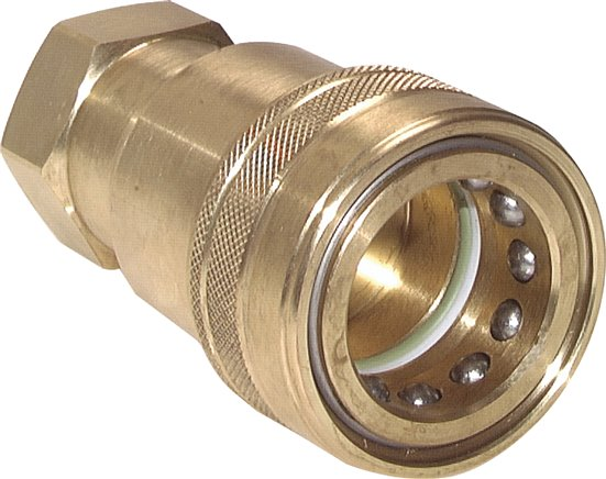 Hydraulic couplings with female threads made of brass, ISO 7241-1 B