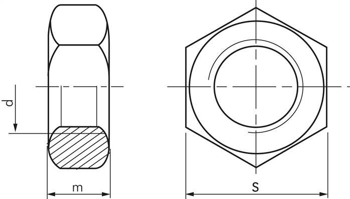 8 DIN 934 1 Stk Sechskantmuttern M68X4,00 Stahl