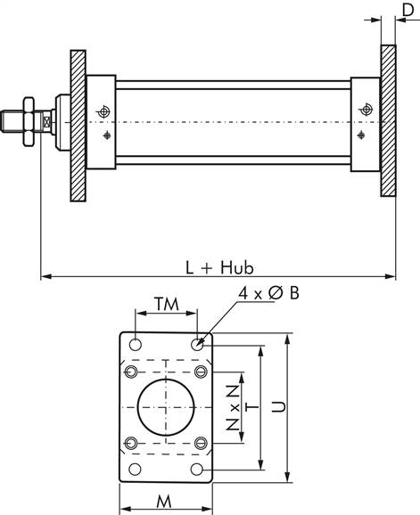 ISO 15552-flange attachment 32 mm, Zinc plated steel (TB 32)