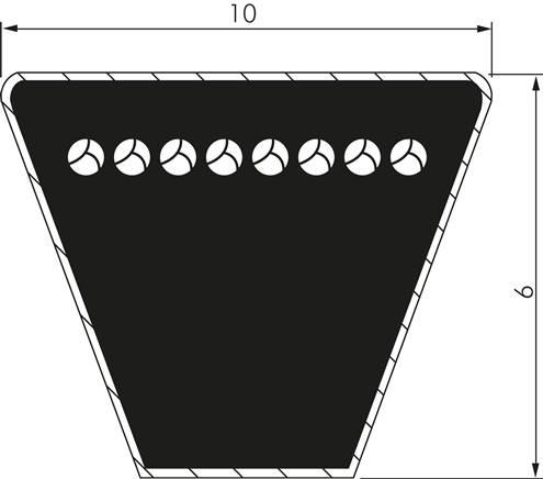 Z24.5 Code:Z24.5 Li:615mm Ld:637mm Keilriemen DIN 2215 Z 10x6 Li=615mm Klass