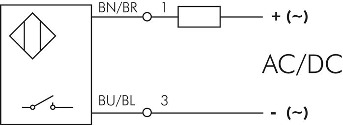 Schematic symbol: 2-wire reed sensor