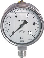 Chemie-Glycerin-Manometer senkrecht,100mm, 0 - 1 bar