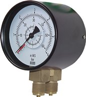 Differential pressure gauge, vertical 100mm, 0 - 1,6 bar