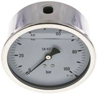 Glycerin-Manometer waagerecht (CrNi/Ms),100mm, 0 - 100bar