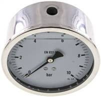Glycerin-Manometer waagerecht (CrNi/Ms),100mm, 0 - 10bar