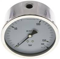 Glycerin-Manometer waagerecht (CrNi/Ms),100mm, 0 - 160bar