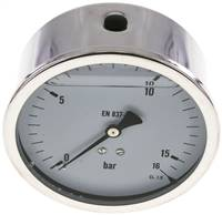 Glycerin-Manometer waagerecht (CrNi/Ms),100mm, 0 - 16bar