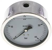 Glycerin-Manometer waagerecht (CrNi/Ms),100mm, 0 - 40bar