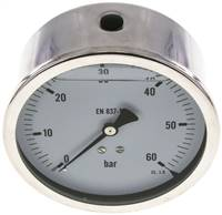 Glycerin-Manometer waagerecht (CrNi/Ms),100mm, 0 - 60bar