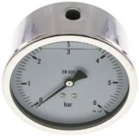 Glycerin-Manometer waagerecht (CrNi/Ms),100mm, 0 - 6bar