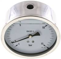 Glycerin-Manometer waagerecht (CrNi/Ms),100mm, -1 bis 15bar