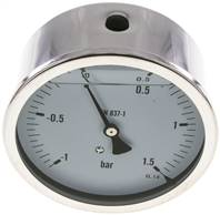 Glycerin-Manometer waagerecht (CrNi/Ms),100mm, -1 bis 1,5bar