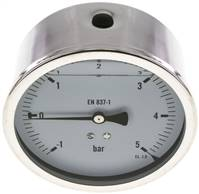 Glycerin-Manometer waagerecht (CrNi/Ms),100mm, -1 bis 5bar