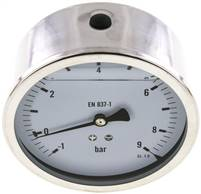 Glycerin-Manometer waagerecht (CrNi/Ms),100mm, -1 bis 9bar