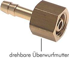"""Schlauchtülle, mit Mutter G 1/4""""-4mm, Messing"""